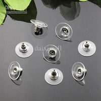 Wholesale Earring Post Stoppers - 1000piece Wholesale Rhodium Silver Plated Clear Plastic Rubber Earring Back Stoppers-Ear Post Nuts for Earring Studs