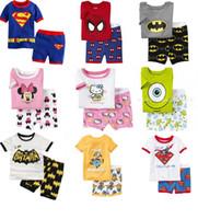 Wholesale Superman Kids Pajamas - Pyjamas boy girl kids short pajama set baby superman pajamas batman sleepwear kids short clothes set kids short kids pajamas
