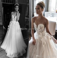 Wholesale Ball Gown Embellished Appliques - illusion jewel sweetheart embellished ruched bodice wedding dresses 2018 elihav sasson 3D rose flower chapel train wedding gowns