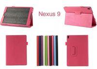 "Wholesale Nexus White Case - For Google Nexus 9 Lichee Grain Folding Folio PU Leather Case Stand Cover for Google nexus 9 Google 9 8.9"" inch Table PC"