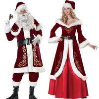 kadınlar için santa claus kostümleri toptan satış-Yetişkinler Için Noel Kostümleri Noel Baba tam Set Kırmızı Noel Giysileri Noel Baba Kostüm Lüks Üniforma Noel Kostüm Erkekler Kadınlar için