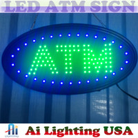 Wholesale Office Usa Wholesale - 20pcs lot whosale price Hot sale ship to USA 19''x10''x0.5'' LED ATM sign green colour sign