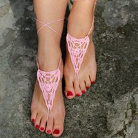 Wholesale Wholesale Crocheted Footless Sandals - Pink Crochet Barefoot Sandals, Women Summer Sexy Yoga Footless Gothic Shoes Victorian Lace, Sexy, Anklet , Bellydance,Beach Footwear