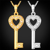 Wholesale Gold Filled Clear - MGC Heart Key Cute Pendant Necklace 18K Gold Platinum Plated Clear Austrian Rhinestone Fashion Jewelry For Women P1043