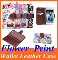 Wholesale Cover Iphone 4s Credit Card - Flower Print Wallet PU Flip Leather Case Cover Skin Pouch with Credit Card Slot Stand Holder for Iphone 6 Plus 4.7 5.5 5 5S 4 4S 4 Colors