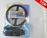 Wholesale Good Quality Power Supply - Good quality Led Strips Light RGB 5M 5050 SMD 300Led Waterproof IP65 + Mini 44Key Controller+ 12V 5A Power Supply With Box Christmas Gifts