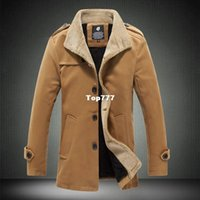 Wholesale Mens Long Casual Wool Overcoats - Autumn And Winter Fashion Brand Wool Coat Men Middle Long Jackets And Coats Mens Outdoor Warm Woolen Overcoat M-3XL 4XL XY831