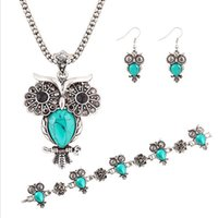 Wholesale Vintage Rhinestone Owl Bracelet - 3pc plated Silver Natural Turquoise Rhinestones Owl Necklace Earrings Bracelet Bangle Womens Vintage Jewelry Set