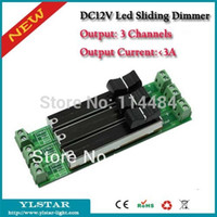 Wholesale Slide Dimmer Led - Wholesale-Free shipping DC12-24V 3 Channels Led Sliding Dimmer, 3A Output Current, adjust brightness,knob-operated controller