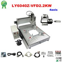 Wholesale 3d Cnc Wood Carving Machine - 2.2KW stone aluminum metal wood 6040 3D cnc router carving drilling engraving machine with 4 axis for tested well freeshipping
