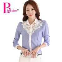 Wholesale Korean Formal Woman Shirt - Blusas Womens Tops Fashion 2016 Casual Long Sleeve Chiffon Blouse Korean Style Lace Patchwork Blue Polka Dot Shirt Women 3116