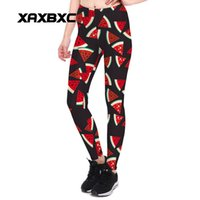 Wholesale Cool Girls Leggings - 2017 NEW 3906 Summer Cool Watermelon Prints Sexy Girl Pencil Yoga Pants GYM Fitness Workout Polyester Women Leggings Plus Size