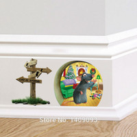 Wholesale Cartoon d Wall Sticker Animal For Kids Room D Mouse Hole Wall Decals Home Decor Bedroom Decoration Vinyl Mural Art