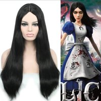 Wholesale Alice Black Wig - Alice Madness Returns Wig 60cm,80cm,100cm,120cm Black Centre Parted Cosplay Wig