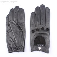 Wholesale Black Lambskin Gloves - Wholesale-Italian Classic Perforated Open Back Unlined Women Driving Gloves Genuine Lambskin Leather Driving Gloves for Ladies