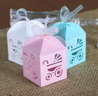 Wholesale Baby Day Out Candy - Baby Carriage Candy Boxes Hollow Out Favor Holders Children's Day Birthday Party Gift Box 2016 March New Style
