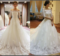 Wholesale Empire Waist Wedding Cathedral - 2015 White Vintage Empire Waist Lace A-line Wedding Dresses Long Sleeves Cathedral Train Off Shoulder Winter Ball Gown Bridal Gown