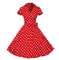 v boyun swing elbiseleri artı boyutları toptan satış-Artı Boyutu S-4XL Kadınlar Retro Elbise 50 s 60 s Vintage Rockabilly Salıncak feminino vestidos V boyun kısa kollu Nokta baskı elbise 7 Renkler