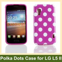 Wholesale E455 Case - Wholesale Cute Polka Dots Soft TPU Gel Cover Case for LG Optimus L5 II E455 E460 Free Shipping