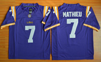 Wholesale Badger Football Jerseys - Cheap Honey Badger Jersey #7 LSU Tryann Mathieu Football Jerseys College Purple Embroidery Logo size S-XXXL Mixed Order