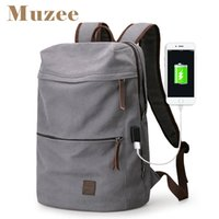 Wholesale Male Coffee - Muzee 2017 New Canvas Backpack USB Design Backpack Men male Student Bag for Weekend Mochila suit for 15.6 inches Latop backpack