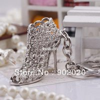 Wholesale Metal Pieces Shoes - [1 piece] Free Shipping 2014 New Product Fancy Metal High Heel Shoe Keychain Key chain 5462 Individual Gift Box Packing