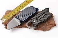 Wholesale utility razor knifes resale online - High quality CER Custom Colors Mini Small Keychain Knives D2 Razor cm Stonewashed HRC Blade TC4 Titanium Handle Pocket Utility Knife
