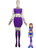 ingrosso titanio d'argento-Costume argento lucido metallizzato e viola Lycra Spandex Starfire di Teen Titans Super Hero Zentai Body