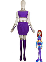 Silver Shiny Metallic and Purple Lycra Spandex Starfire Costume from Teen Titans Super Hero Zentai Bodysuit