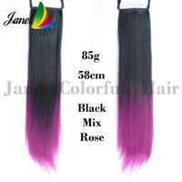 Wholesale Two Ponytails Straight Hair - 1pc 58cm Two tones color Ponytail Hair extensions Straight Synthetic Hair pieces Long Clip in Ombre Hair 4 colors 85g R13 Free shipping