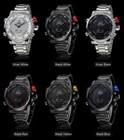 Weide Brand Men's Military Watches Homens Luxo Full Steel Quartz Watch LED Display Sports Relógios de pulso 30M Water Resistant free shiping