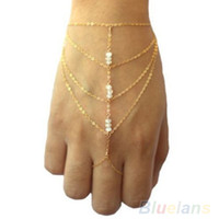 Trendy spring ring finger - 2016 New Multi celebrity fashion chain tassel bracelet chain slave finger gold hand harness bracelets and short bangels
