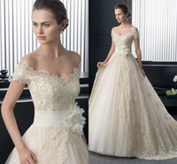 Wholesale Exquisite Wedding Dress Off Shoulder - 2015 New Arrival Custom ball gown Wedding Dresses Capped Short Sleeve Luxury Lace Exquisite Appliques Zipper Back Bridal Gowns