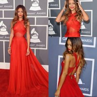 Wholesale Cheap Rihanna Dresses - Cheap Red Sheer Evening Dresses Inspired by Rihanna Dress 55th Grammy Awards Red Carpet Celebrity Dresses Cross Back Sexy Prom Dresses