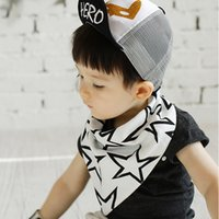 Wholesale Scarf Star Pattern Cotton - 2016 Kids Cotton star dog reversible Bibs baby Double Layer Bibs infant girl boy pattern Babador Feeding Scarf White Gray 2colors