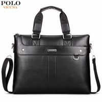 Wholesale Leather Man Briefcase Classic - VICUNA POLO Classic Business Man Briefcase Brand Computer Laptop Shoulder Bag Leather Men's Handbag Messenger Bags Men Bag Hot
