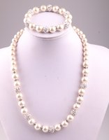 Wholesale Wholesale Glass 8mm Pearls - Free shipping New arrival 8mm,10mm crystal glass pearl beads and disco pave ball necklace bracelet jewelry set