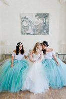 Wholesale Turquoise Purple Tutu - Long Tutu Skirts Bridesmaid Dresses For Wedding Event Sheer Tulle Women party Dress 2016 Turquoise New Fashion Maid of Honor