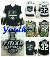 Wholesale Cheap Kids Cups - Factory Outlet, 2014 Stanley Cup Kids Los Angeles Kings Hockey Jerseys Goalie Jonathan Quick Jersey #32 Black White Youth Cheap Stitched Jer