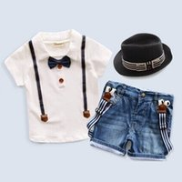 Wholesale T Shirt Straps Suits - Baby Boys White Short-Sleeve T-shirt Top With Black Tie+Suspenders Denim Shorts 2Pcs Sets Summer Children Strap Jeans Suits Kid's Gentleman