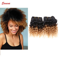 Wholesale Kinky Curly Ombre Hair Dye - 8 Inch 6A Grade Brazilian Ombre Kinky Curly Hair Wefts 100% Human Hair Extensions Machine Double Weft 50g pcs 2pcs lot Free Shipping