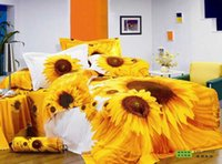 Wholesale Queen Quilt Comforter Set - Brand new sunflower cotton queen king bedding bedclothes with reversible duvet quilt cover flat sheet 4 5pc comforter sets home textile