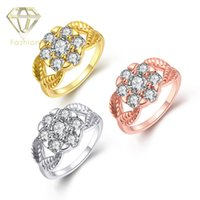 Wholesale Diamond Rings Prices For Women - Gold Rings Delicate 18K Rose White Gold Plated with AAA+ Cubic Zircon Diamond Flower Rings Bridal Jewelry for Women Girls Factory Price