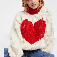 Wholesale computer hearts online - Fashion blogger red heart sweaters women round neck long sleeve knitted warm pullovers lantern sleeve jumpers