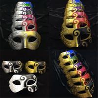 Wholesale Vintage Masquerade Ball Masks - Vintage Mens Party Masquerade Baron Masks Roman Knight Carnival Halloween Chirstmas Mask Drawing Venetian Ball Masks Novelty Gifts K963