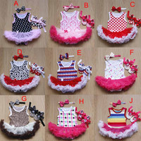 Wholesale Hair Piece Rainbow - Baby Rainbow leopard short Romper Baby One-pieces Bodysuit Girl Rompers Summer lace Clothing tutu romper+Hair band+shoes A001