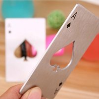 Wholesale poker designs - Creative DIY Beer Opener Stainless Steel Poker Card Spades A Bottle Openers Hollowed Out Design Corkscrew New Arrival 1 5bf B