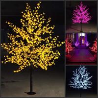 ingrosso ha condotto l'albero artificiale della ciliegia chiara-2 M 6.5ft Altezza LED Artificiale Cherry Blossom Alberi di Natale Luce 1152 pz LED Lampadine 110/220 VAC impermeabile fairy garden decor
