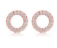 925 14k weißgold ring großhandel-925 Sterling Silber Ohrstecker Retro Modeschmuck Kreis Runde Ring Ohrstecker Voller Crytal für Frauen Mädchen Gold Weiße Farbe