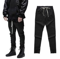 Wholesale waist slimmer band - New Fashion Mens Waist Banding Black Cargo Pants Slim Fit Ankle RIRI Zipper Fog Vintage High Street Trousers 2018